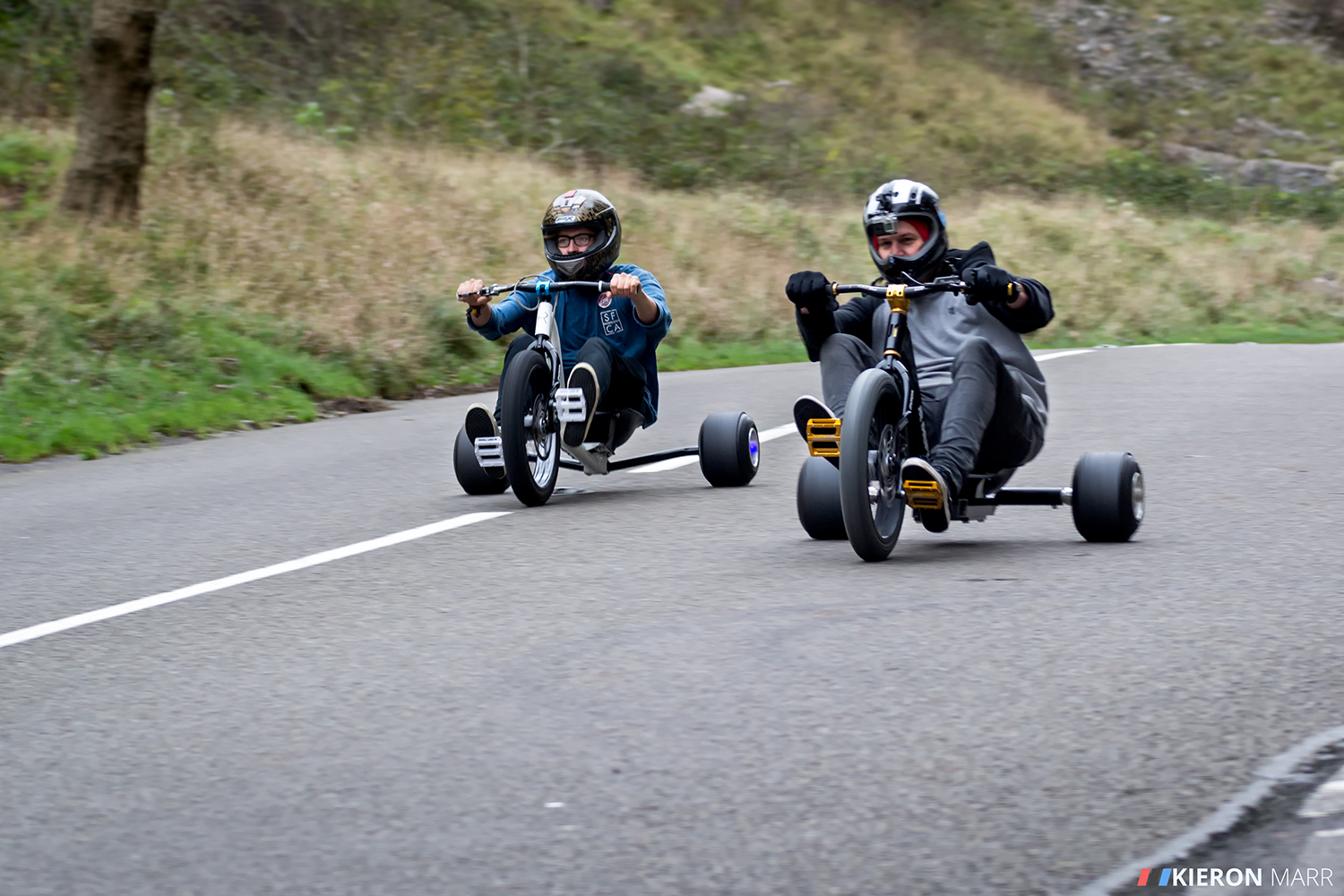 Two riders drifting together