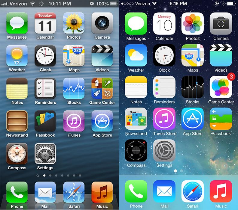 iOS 7 & iOS 6 Home screen comparison