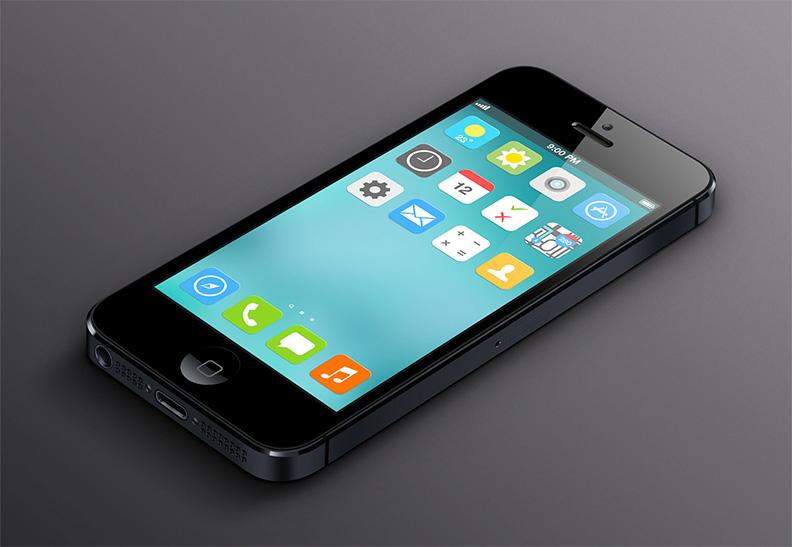 iOS7 flat design concept