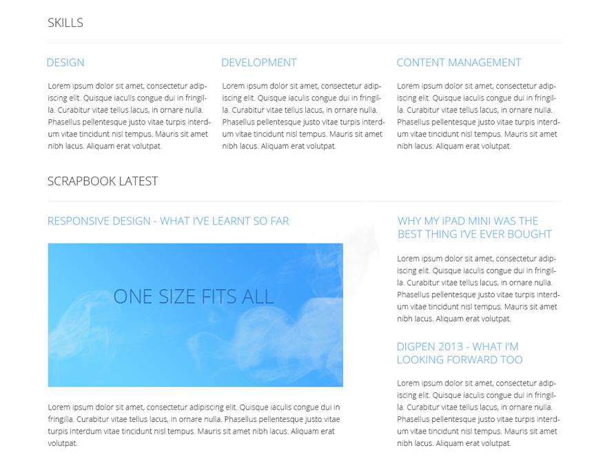 Portfolio v1 - home content